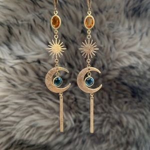 Jewelry - Handmade hammered moon and star earrings